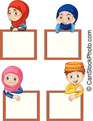 A set of muslim children and blank board