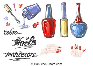 A set of nail polish for manicure. Hand drawn elements with hands red nails open bottle and words Nails Color Manicure vector illustration