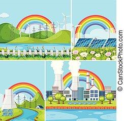 A Set of Natural Power Plant Landscape
