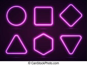 A set of neon geometric shapes.