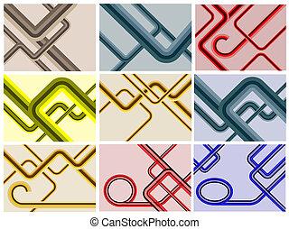 A set of nine retro lines backgroun