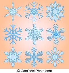 A set of nine snowflakes Christmas