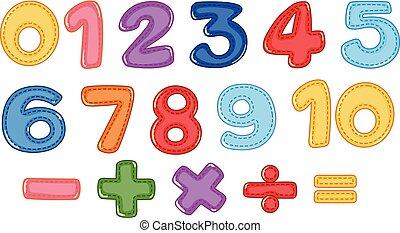 A set of number and math symbols