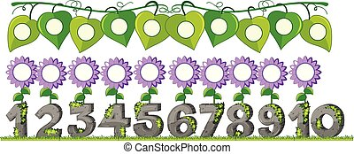 A Set of Number with Flower