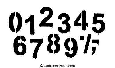 A set of numbers made by the stencil and drips of paint. Vector illustration