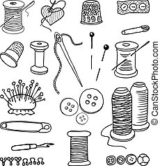 A set of objects for sewing