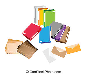 Illustration Collection of Colorsful File Folder, Office Foloder and Close Envelope for Office Supply