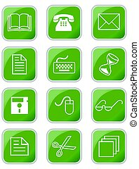 A set of office or web icons in square with rounded corners