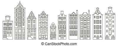 A set of old European houses. Architecture of the Netherlands. Vector outline illustration.