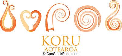 Koru - A set of orange glass Maori Koru curl ornaments.