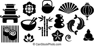 A set of orinental and Zen icons - Collection of black and...
