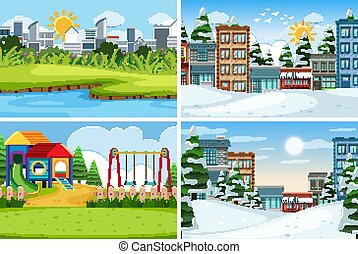 A set of outdoor scene including building