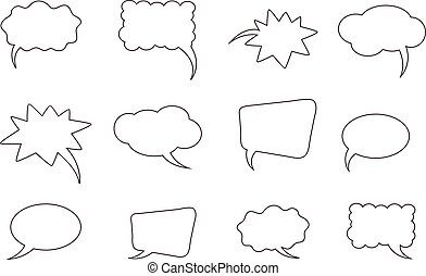 A set of outline comic bubbles.