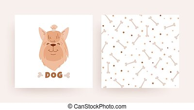 A set of pattern cards with a dog for the shop