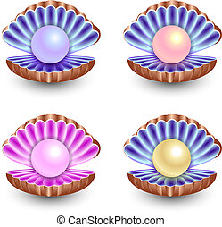 set of pearls - A set of pearls of different colors. Sinks.