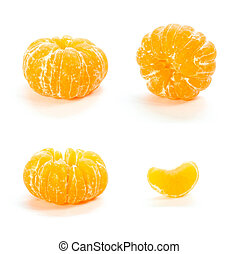 A set of peeled tangerines. Close up. Isolated on white background