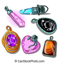 A set of pendants made of precious stones isolated on a white background. Vector cartoon close-up illustration.