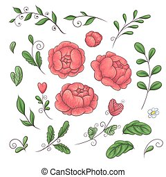 A set of peonies and floral elements in the style of hand-drawing in 2019 coral trend colors.