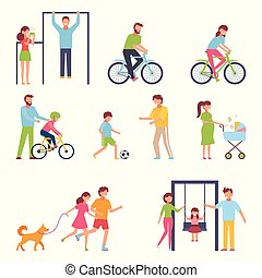 A set of people engaged in an active lifestyle, family. Vector illustration in simple style on white isolated background