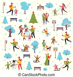 A set of people involved in the winter active lifestyle family. Vector illustration in simple style on white isolated background