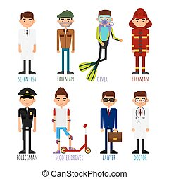 A set of people of different professions.