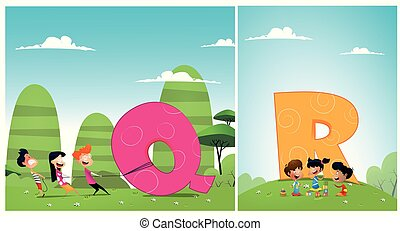 A set of pictures for learning the English alphabet - Set of...