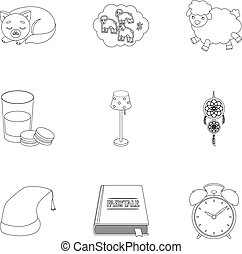 A set of pictures on a theme a dream, rest. Bed accessories for rest.Sleep and rest icon in set collection on outline style vector symbol stock illustration.