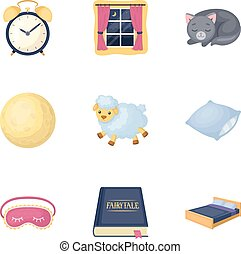A set of pictures on a theme a dream, rest. Bed accessories for rest.Sleep and rest icon in set collection on cartoon style vector symbol stock illustration.