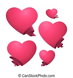 A set of pink hearts templates.