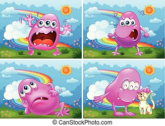 A Set of Pink Monster