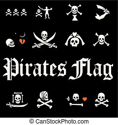 A set of pirate flags, skulls and bones illustration -...