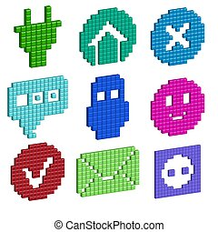 a set of pixel icons for your individual design. Vector