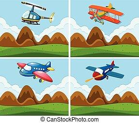 A set of plane on sky