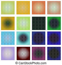 A set of polka patterns with gradient in different colors