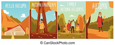 A set of posters with inscriptions and happy people on the background of the autumn landscape.