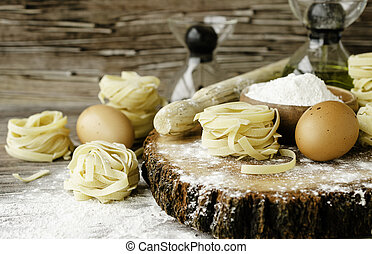 A set of products for cooking pasta with wheat flour, a selective focus