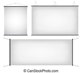 canvas banners - a set of promotional canvas banners hanging