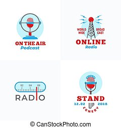 A set of Radio Vector Emblems. Abstract Broadcast Tower, ...