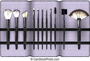 A Set of Realistic Make Up Brushes in a Case Isolated on white background. Vector illustration