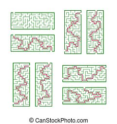 A set of rectangular mazes. Game for kids. Puzzle for children. One entrances, one exit. Labyrinth conundrum. Flat vector illustration isolated on white background. With answer.