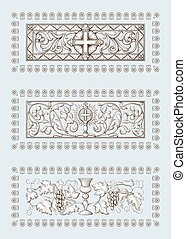 A set of Religious symbols of christianity, including cross and Grail. Biblical illustrations in old engraving style