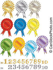 A set of rewards-rosettes - A set of colorful marking out...