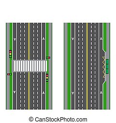 A set of road sections. Stop. Transition. Bicycle paths, sidewalks and intersections. View from above. illustration