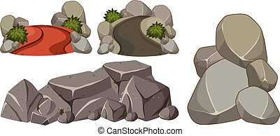 A Set of Rock on White Background
