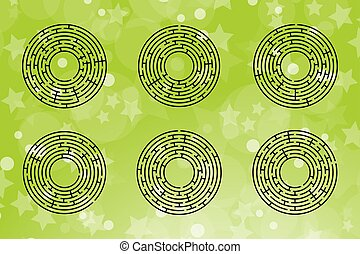 A set of round mazes. Game for kids. Puzzle for children. One entrances, one exit. Labyrinth conundrum. Flat vector illustration isolated on color background.