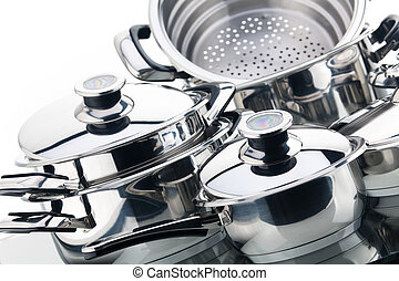 A set of saucepans, stainless steel - Set of chrome plated ...