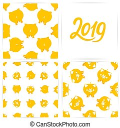 A set of seamless patterns with cute yellow pigs for the Chinese new year. 2019 hand lettering.