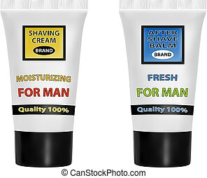 A set of shaving cream and after shave balm.Vector...