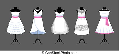 A set of short white dresses with pink ribbons.