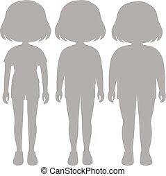 A set of silhouette girl body transformation